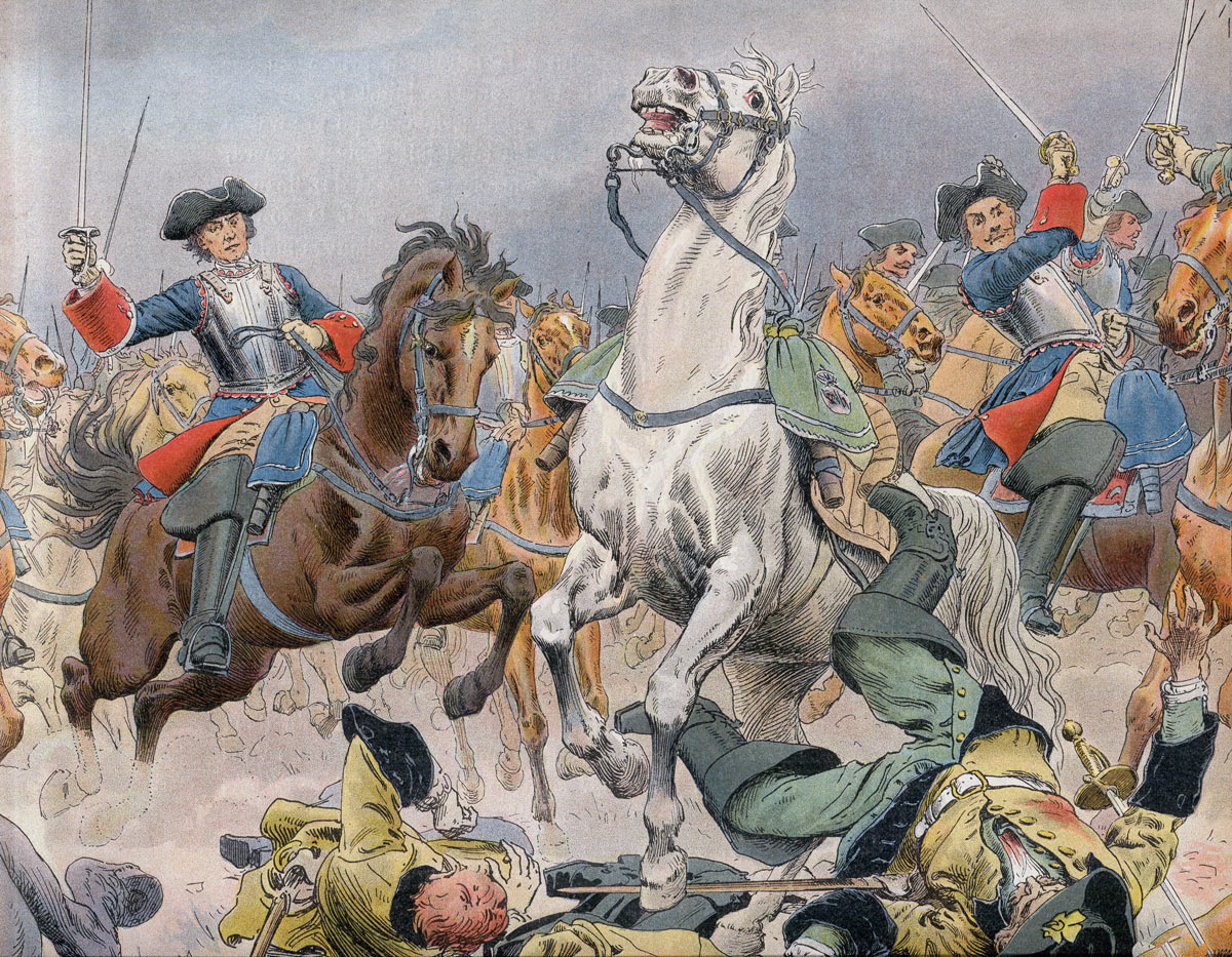 French Cavalry attacking at the Battle of Malplaquet 11th September 1709 War of the Spanish Succession