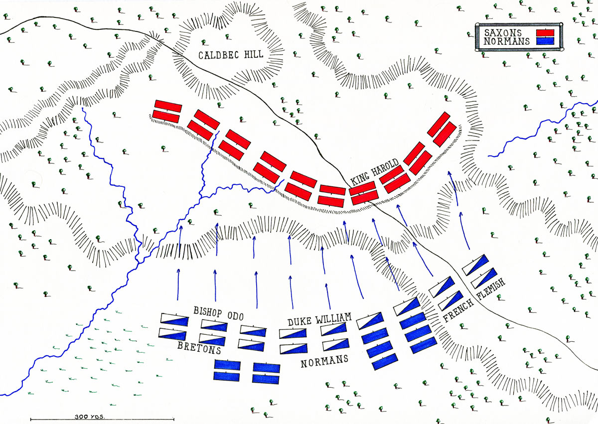 Map of the Battle of Hastings on 14th October 1066: map by John Fawkes