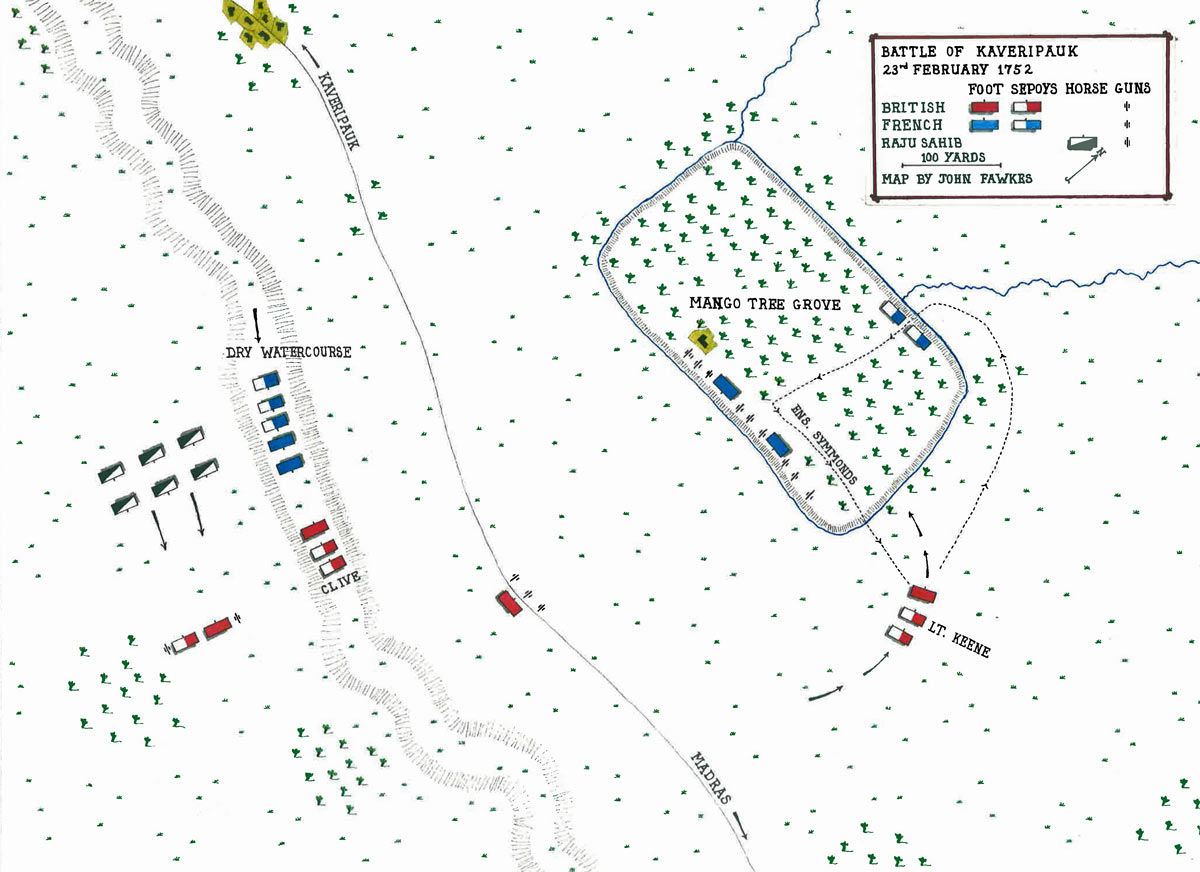 Map of the Battle of Kavripauk on 23rd February 1752 in the Anglo-French Wars in India (Second Carnatic War): map by John Fawkes