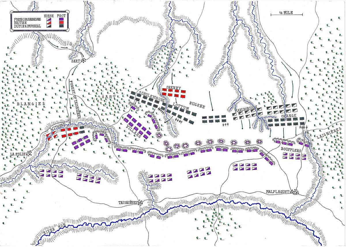 Map of the Battle of Malplaquet 11th September 1709 War of the Spanish Successioni: map by John Fawkes
