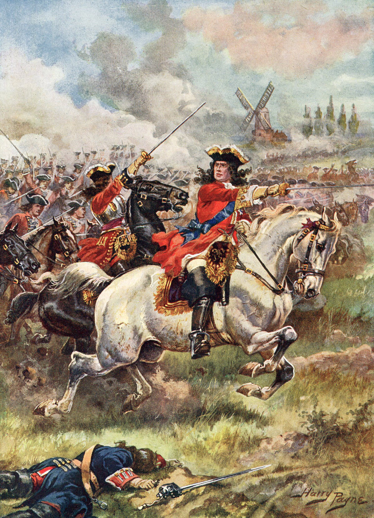 The Duke of Marlborough leads the attack at the Battle of Blenheim 2nd August 1704 in the War of the Spanish Succession: picture by Harry Payne