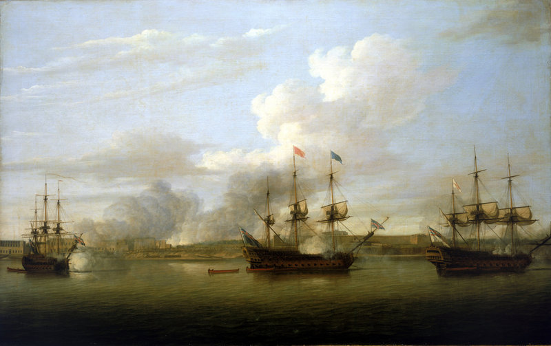 Capture of Chandranagar by Admiral Watson and Robert Clive: Battle of Plassey on 23rd June 1757 in the Anglo-French Wars in India: picture by Dominic Serres