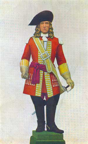 Officer of the 21st Royal Scots Fuzileers: Battle of Blenheim 2nd August 1704 in the War of the Spanish Succession: statuette by Pilkington Jackson