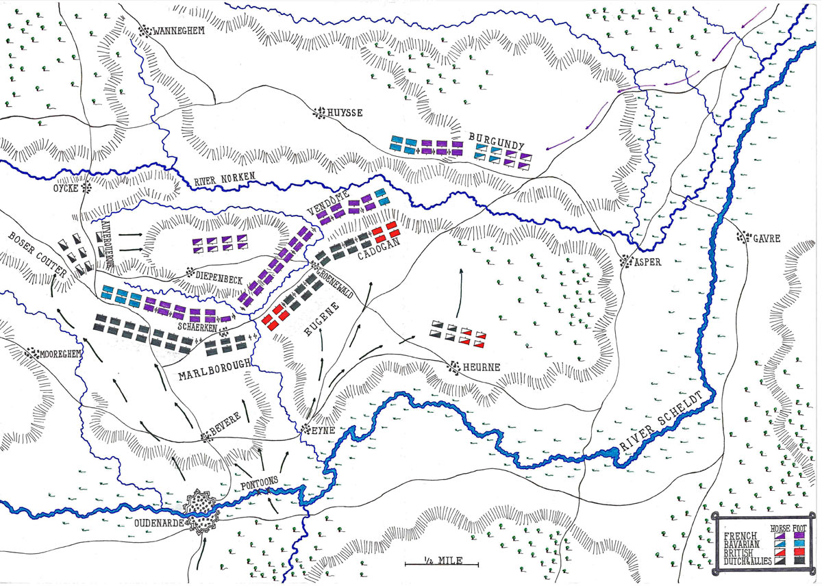 Map of the Battle of Oudenarde 30th June 1708 in the War of the Spanish Succession: map by John Fawkes
