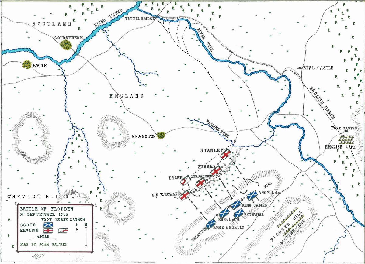 Map of the Battle of Flodden on 9th September 1513: map by John Fawkes