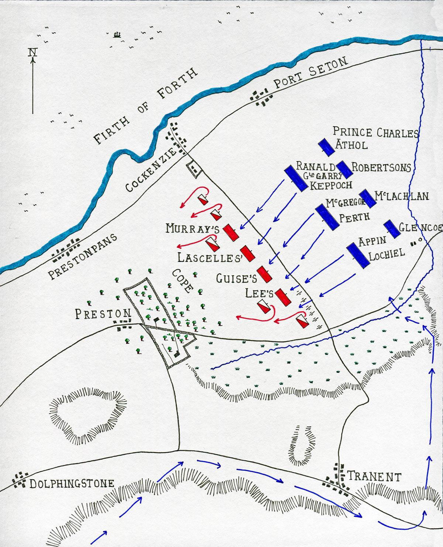 Map of the Battle of Prestonpans on 21st September 1745 in the Jacobite Rebellion by John Fawkes