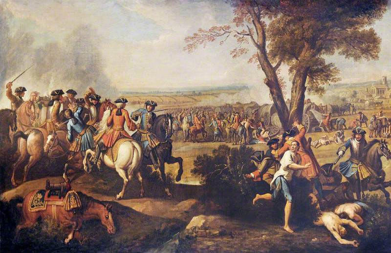 Pursuit of the French after the Battle of Ramillies 12th May 1706 in the War of the Spanish Succession: picture by Laguerre
