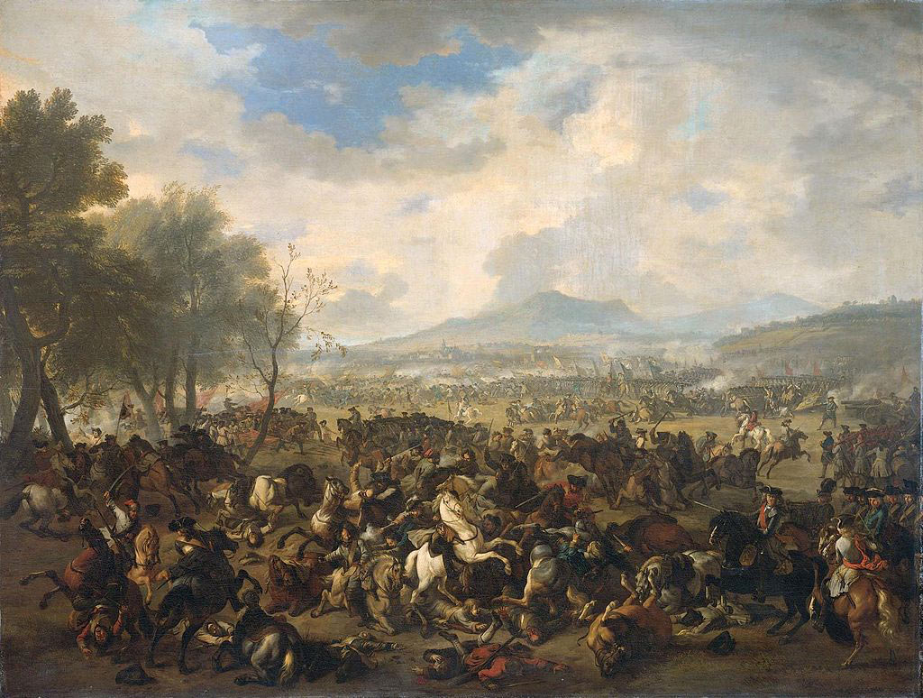 Battle of Ramillies 12th May 1706 in the War of the Spanish Succession: picture by Jan van Huchtenburg; click here to buy this picture