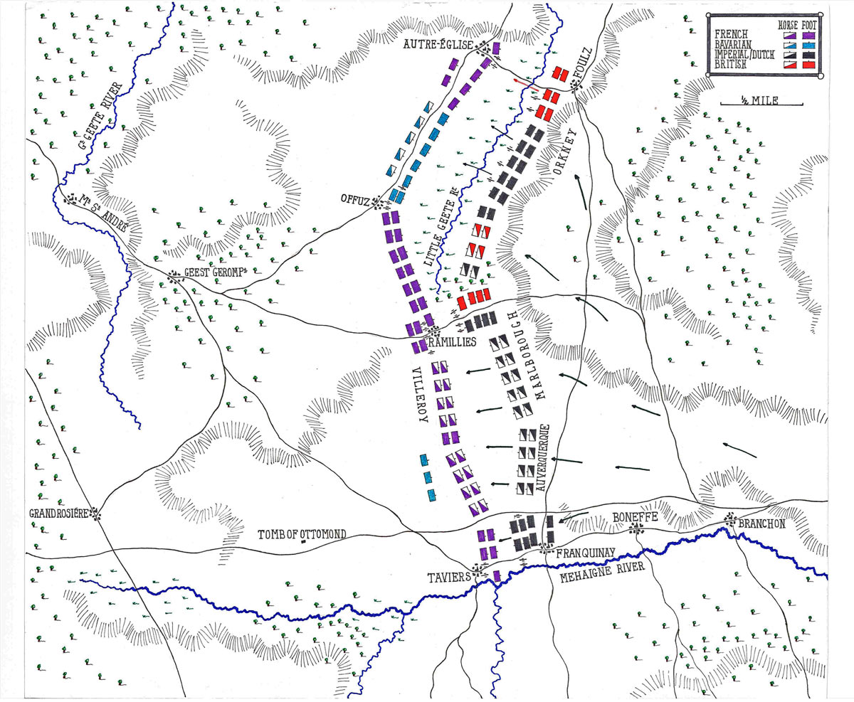 Map of the Battle of Ramillies 12th May 1706 in the War of the Spanish Succession: map by John Fawkes