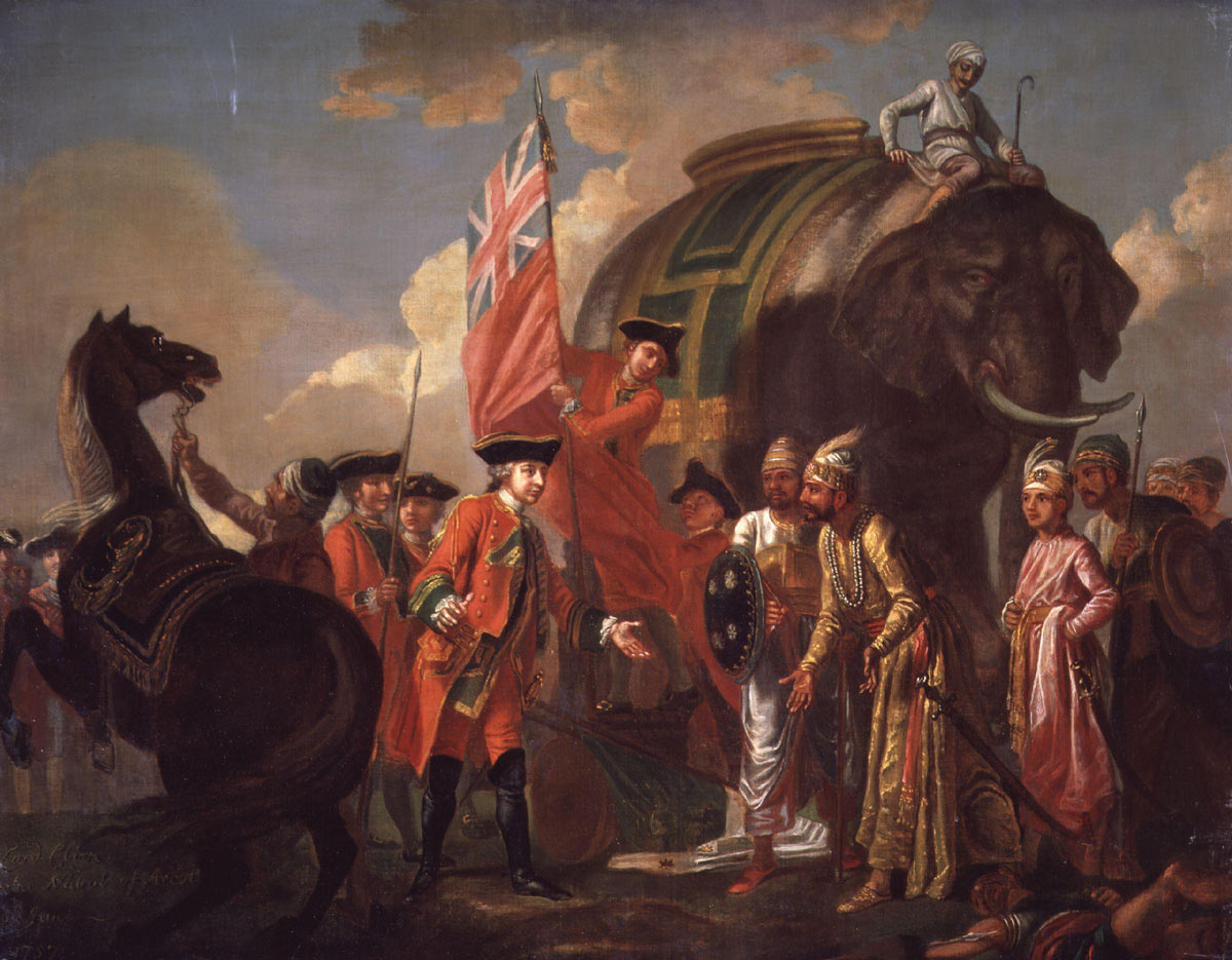Clive meets Mir Jaffir after the Battle of Plassey 23rd June 1757 in the Anglo-French Wars in India: picture by Francis Hayman