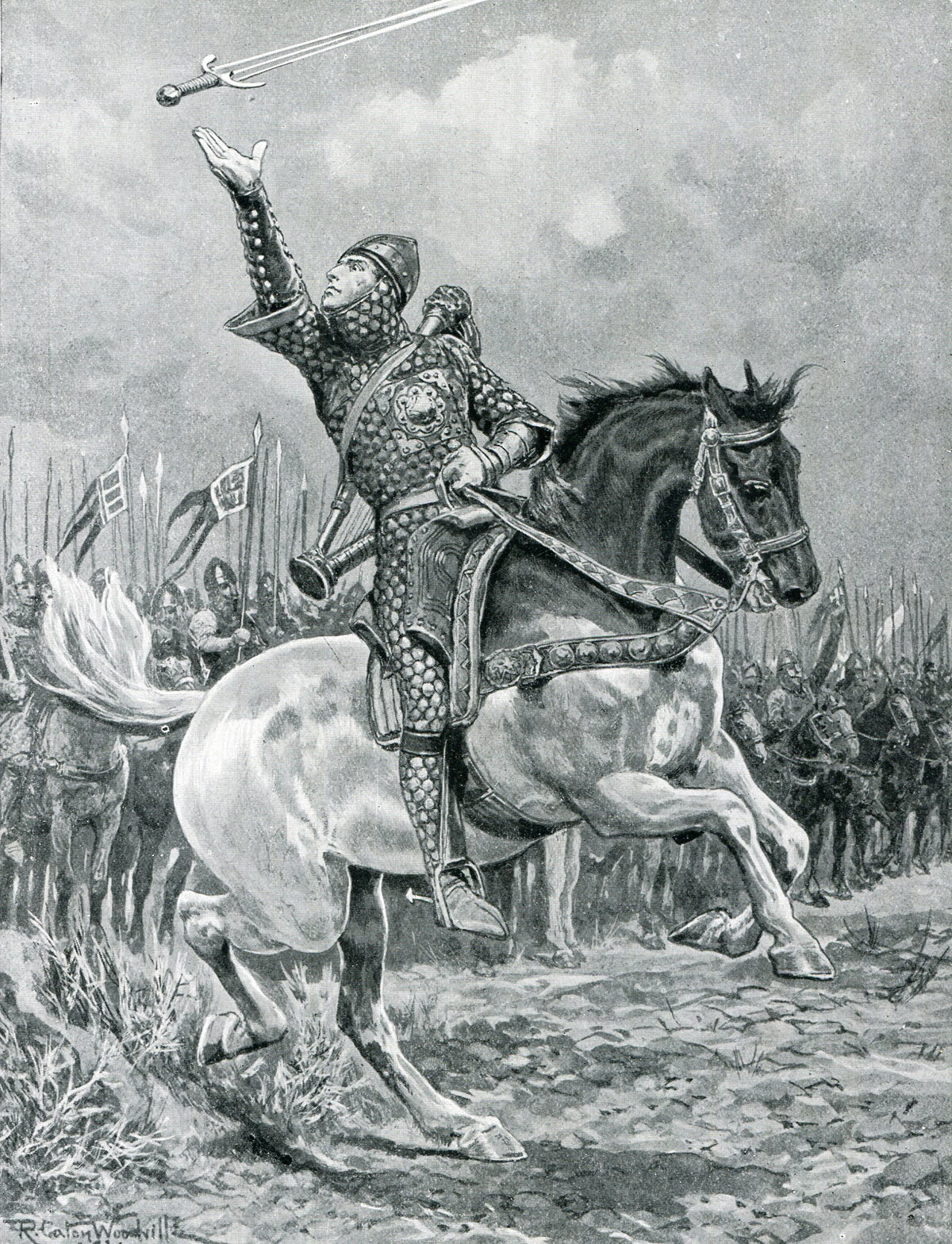 The Minstrel Taillefer leads the Norman attack juggling his sword and singing the 'Song of Roland': Battle of Hastings on 14th October 1066 during the Norman Invasion: picture by Richard Caton Woodville: click here to buy this picture