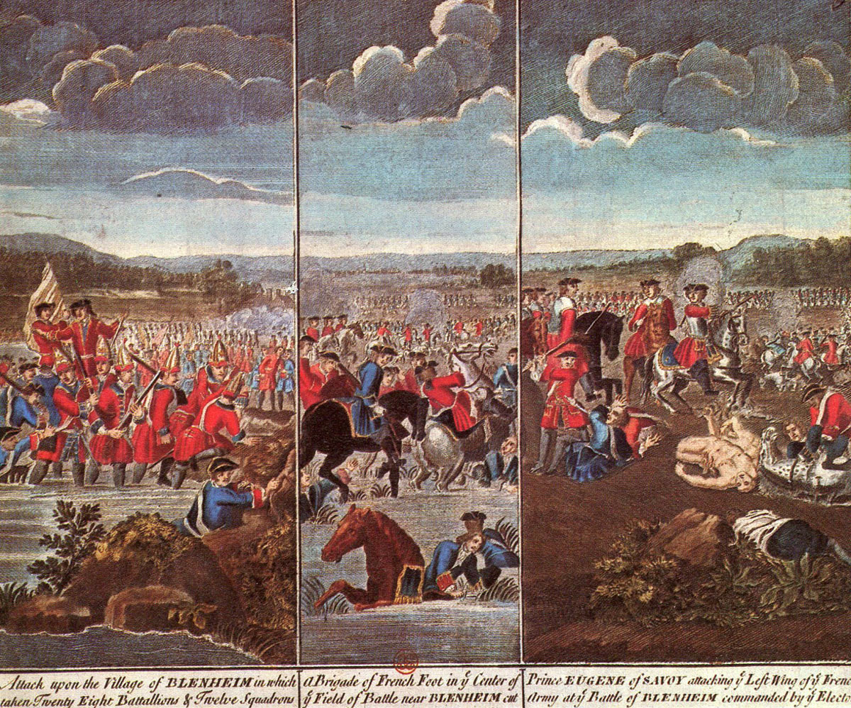 Triptych of the Battle of Blenheim 2nd August 1704 in the War of the  Spanish Succession