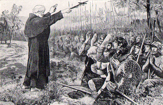 The Abbot of Inchaffray blesses the Scots soldiers before the Battle of Bannockburn on 23rd June 1314
