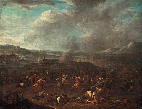 Battle of Oudenarde 30th June 1708 in the War of the Spanish Succession: picture by der Meulen