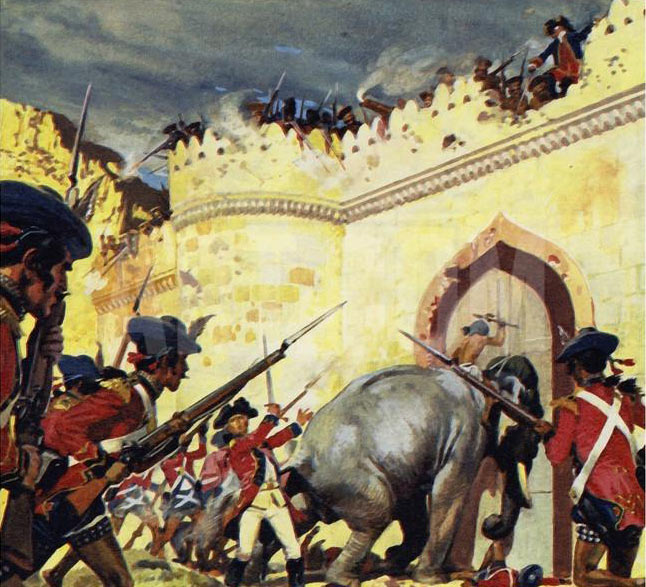 Elephants battering at the gates of Arcot Fort: Siege of Arcot 31st August to 15th November 1751 in the War in India: click here to buy this picture