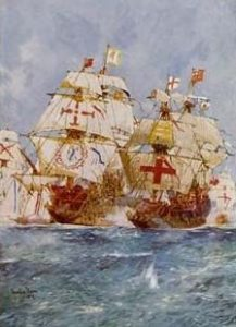 The Armada June to September 1588: Lord Howard in the Ark attacks San Martin, flagship of the Duke of Medina Sidonia. Both ships carry the red cross on the white background, the crusader symbol and the symbol of St George: click here to buy this picture