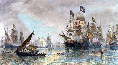 The Spanish Armada leaving Ferroll: Spanish Armada June to September 1588