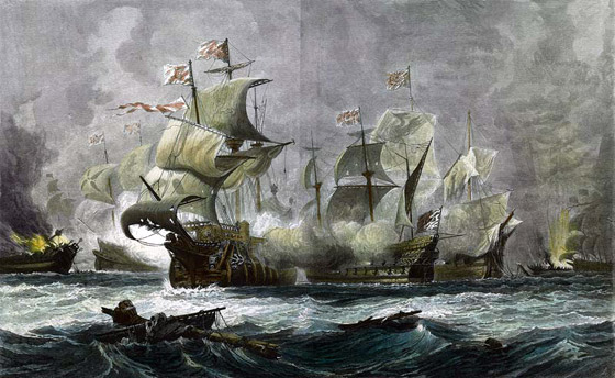 Battle of Gravelines: Vanguard engages two Spanish galleons: Spanish Armada June to September 1588: clicke here to buy this picture