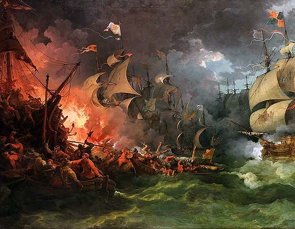 Battle of Gravelines: at which the English Fleet dispersed the Spanish Armada and forced it into the North Sea: Spanish Armada June to September 1588
