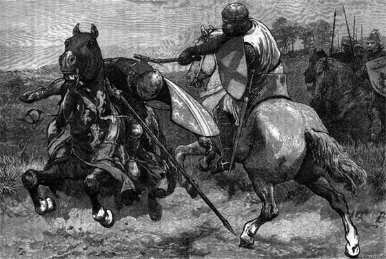 Robert de Bruce kills Sir Henry de Bohun in single combat on the first day of the Battle of Bannockburn on 23rd June 1314