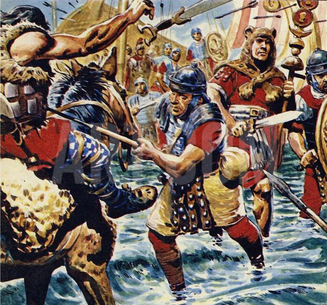 Roman legionaries crossing the River Medway: Battle of Medway June 43 AD in the Roman Invasion of Britain: picture by Cecil Doughty: click here to buy this picture
