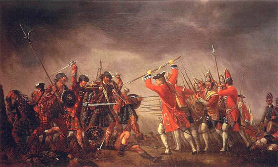 The Highland charge on Barrell's Regiment: Battle of Culloden 16th April 1746 in the Jacobite Rebellion: painted by Davind Morier using Highland prisoners as models