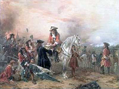 Duke of Marlborough signing his dispatch to Queen Anne:Battle of Blenheim 2nd August 1704 in the War of the Spanish Succession