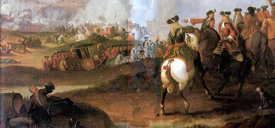 The Duke of Marlborough's coach at the Battle of Ramillies 12th May 1706 in the War of the Spanish Succession