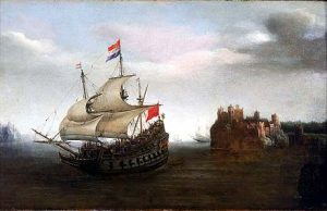 Dutch ship leaves port to do battle with the Armada: Spanish Armada June to September 1588