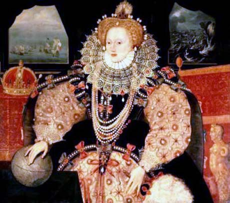 "'Armada Portrait' of Elizabeth I, Queen of England: the two rival fleets appear in the top left: Philip II of Spain planned to depose her, calling her the ""Heretic Queen"": Spanish Armada June to September 1588: click here to buy this picture"