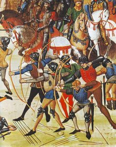 English archers in battle with the longbow in the Middle Ages: Battle of Flodden on 9th September 1513