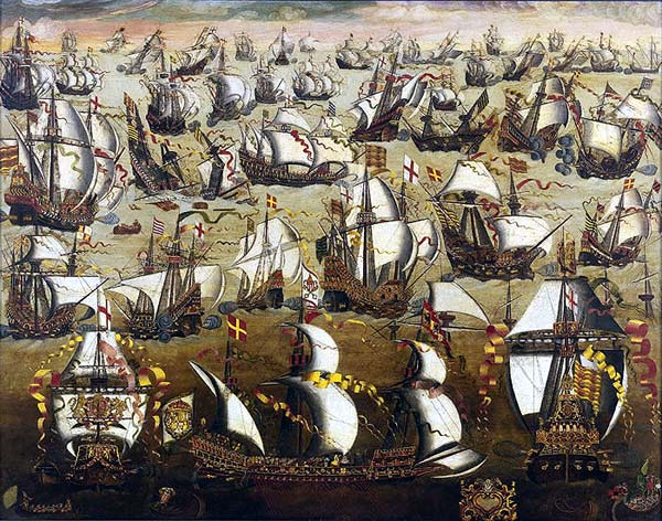 "The English Fleet gives battle to the Spanish Armada: A Spanish galeas occupies the foreground, an English ""race"" galleon to her left and right. English ships carry the red cross of St George on a white background: Spanish Armada June to September 1588: click here to buy this picture"