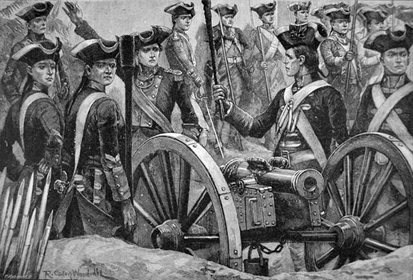 English six pounder gun at the Battle of Plassey 23rd June 1757 in the Anglo-French Wars in India: picture by Richard Caton Woodville