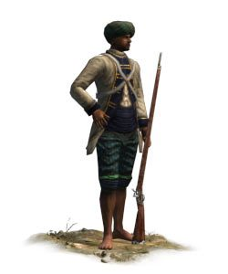 French Sepoy: Battle of Kavripauk on 23rd February 1752 in the Anglo-French Wars in India (Second Carnatic War)