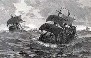 "Ships of the Armada storm tossed on the route ""North About"" round the Northern tip of Scotland: Spanish Armada June to September 1588"