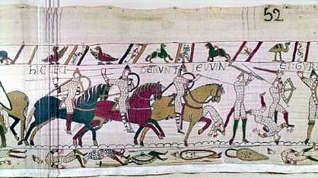The Battle of Hastings; the deaths of King Harold's brothers, the Earls Gurth and Leofwin: a scene from the Bayeux Tapestry: click here to buy this picture