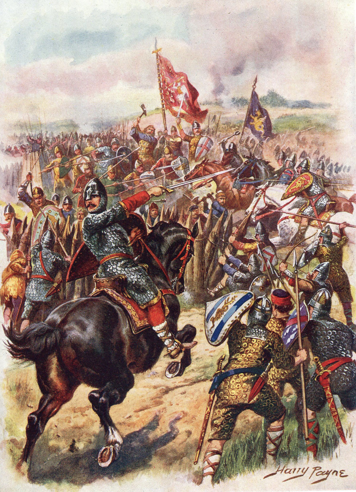 King Harold's last stand at the Battle of Hastings on 14th October 1066: picture by Harry Payne