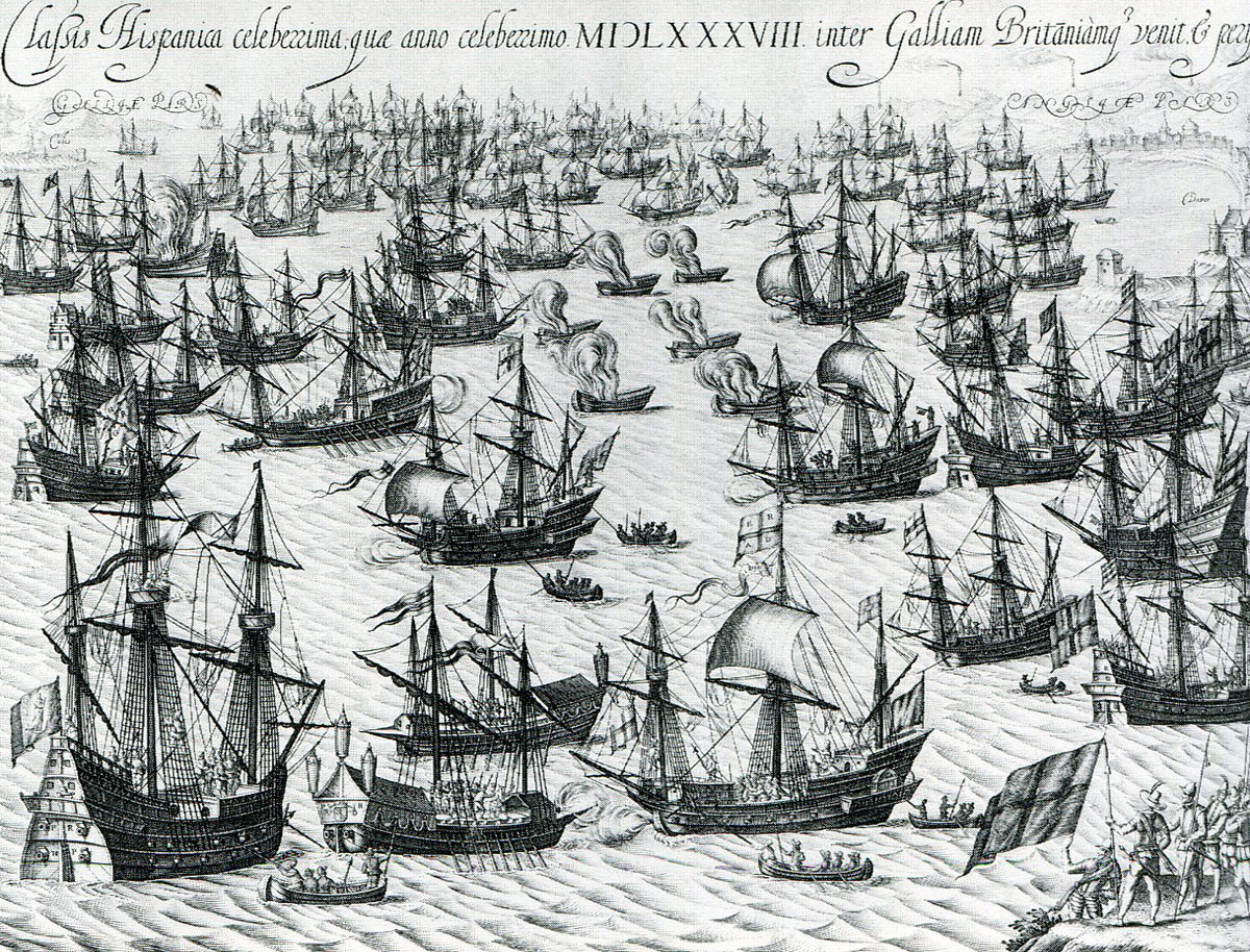 Spanish Armada June to September 1588: the decisive action off Calais; the English attack at midnight led by the eight fire ships that forced the Spanish to cut their cables and escape east up the Channel
