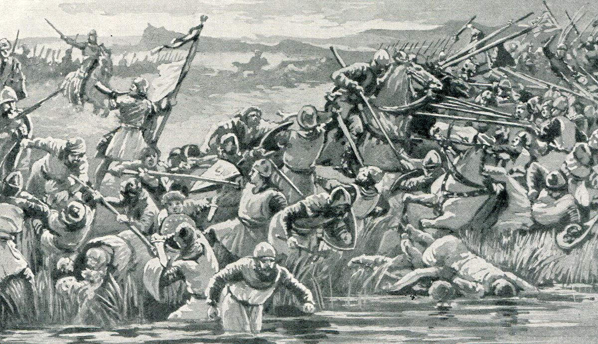 Robert Bruce drives the English into the Bannockburn: Battle of Bannockburn on 24th June 1314