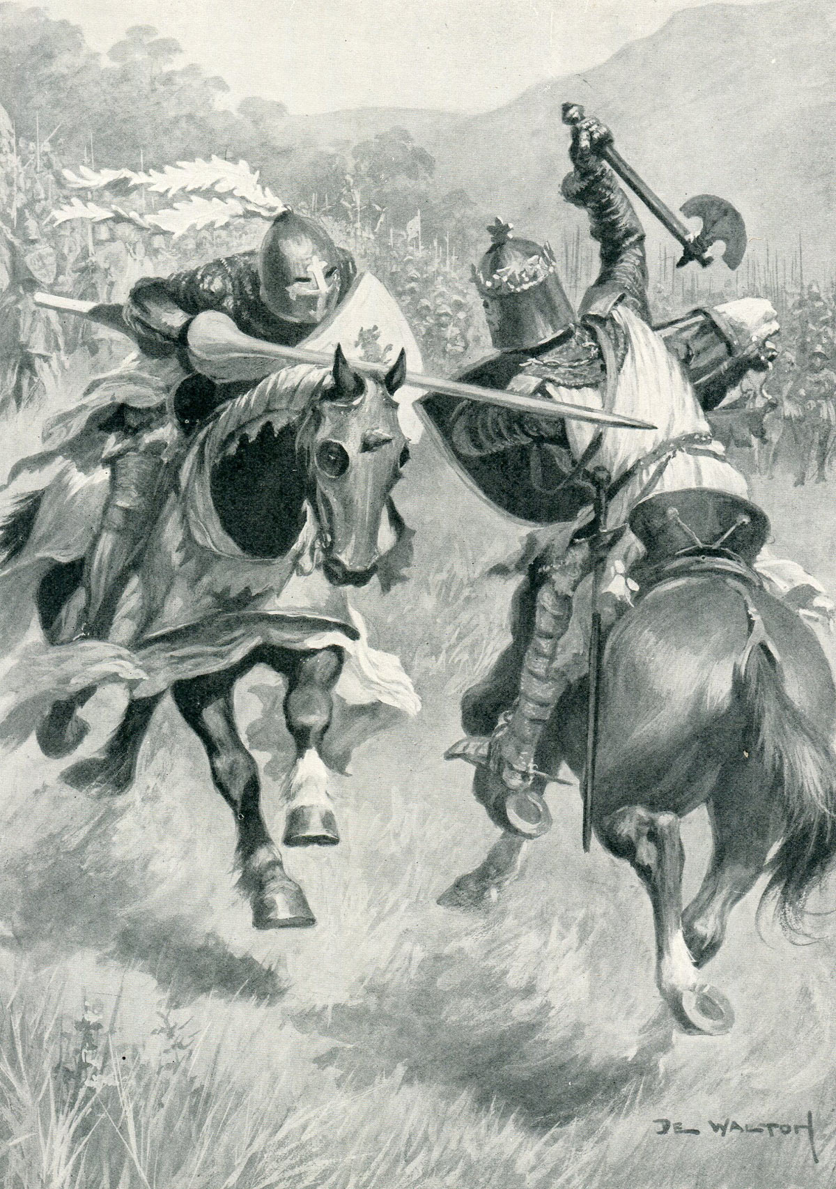 Robert de Bruce strikes and kills Sir Henry de Bohun with his axe in single combat before the Battle of Bannockburn on 23rd June 1314: picture by Ambrose de Walton: click here to buy this picture