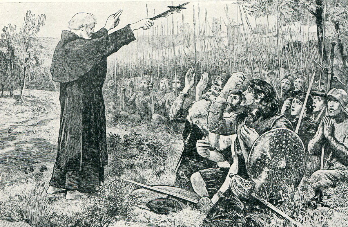 The Abbot of Inchaffray blesses the Scots soldiers before the Battle of Bannockburn on 23rd June 1314: click here to buy this picture