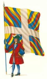 French officer with regimental colour: Battle of Malplaquet 11th September 1709 War of the Spanish Succession