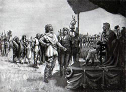 Caractacus, King of the Catuvellauni, brought before the Emperor Claudius after his betrayal to the Romans