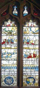 The window in the parish church of St Leonard's Middleton commemorating the 17 archers led by Sir Robert Ashton at the Battle of Flodden in 1513