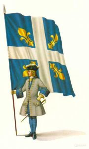 French Officer with Regimental Colour: Battle of Oudenarde 30th June 1708 in the War of the Spanish Succession