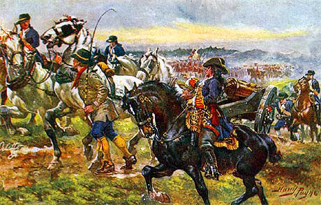 Bringing up the guns: Battle of Oudenarde 30th June 1708 in the War of the Spanish Succession: picture by Harry Payne