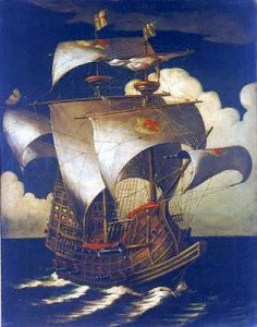 A Portuguese galleon: Spanish Armada June to September 1588