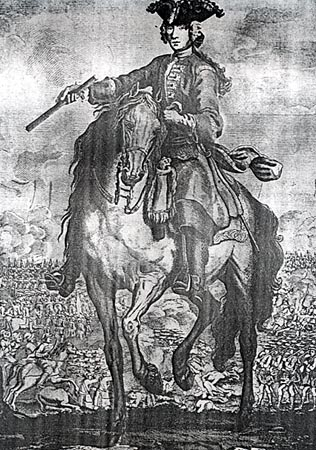 Prince Charles Edward Stuart at the Battle of Falkirk 17th January 1746 in the Jacobite Rebellion