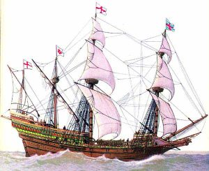 The new English 'race' ship that the Spanish could not catch to board and whose cannon did so much damage to the Armada's ships: Spanish Armada June to September 1588