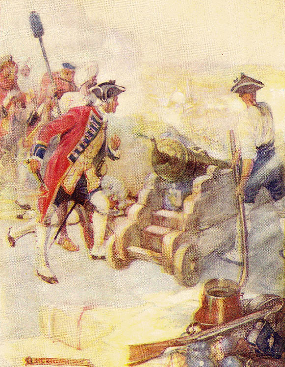 Robert Clive fires a cannon in the Siege of Arcot 31st August to 15th November 1751 in the War in India: click here to buy this picture